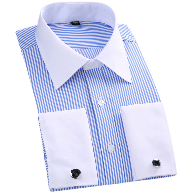 Men French Cufflinks Shirt Stripe Solid Brand Formal Men's Shirt  White Collar Design Male Fit Slim French Cuff Plus Size6XL 5XL