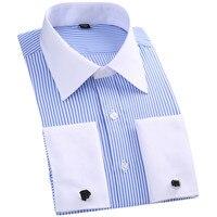 Men French Cufflinks Shirt Stripe Solid Brand Formal Men's Shirt White Collar Design Male Fit Slim French Cuff Plus Size6XL 5XL