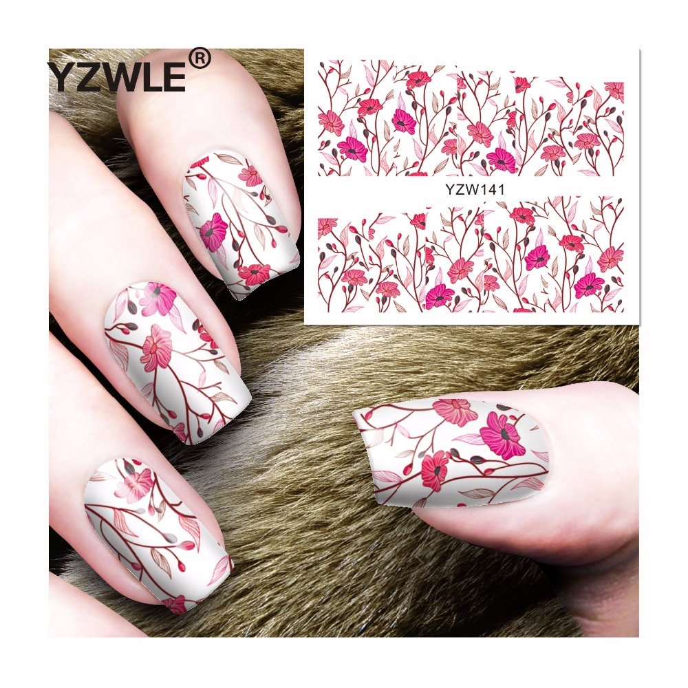 YZWLE 1 Sheets Full Cover Pretty Flower Water Transfer Sticker Nail Art Decals DIY Beauty Decorations Polish Tips yzwle 1 sheet new nail art full cover blue flower stickers decals water transfer wraps decorations manicure care tools