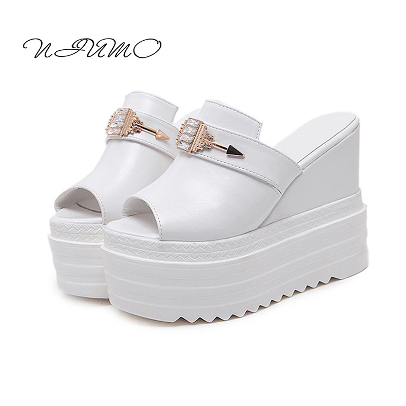 2017 summer new muffin with slippers female 12cm Slippery slippery female drag Slope with high heel mouth sandals