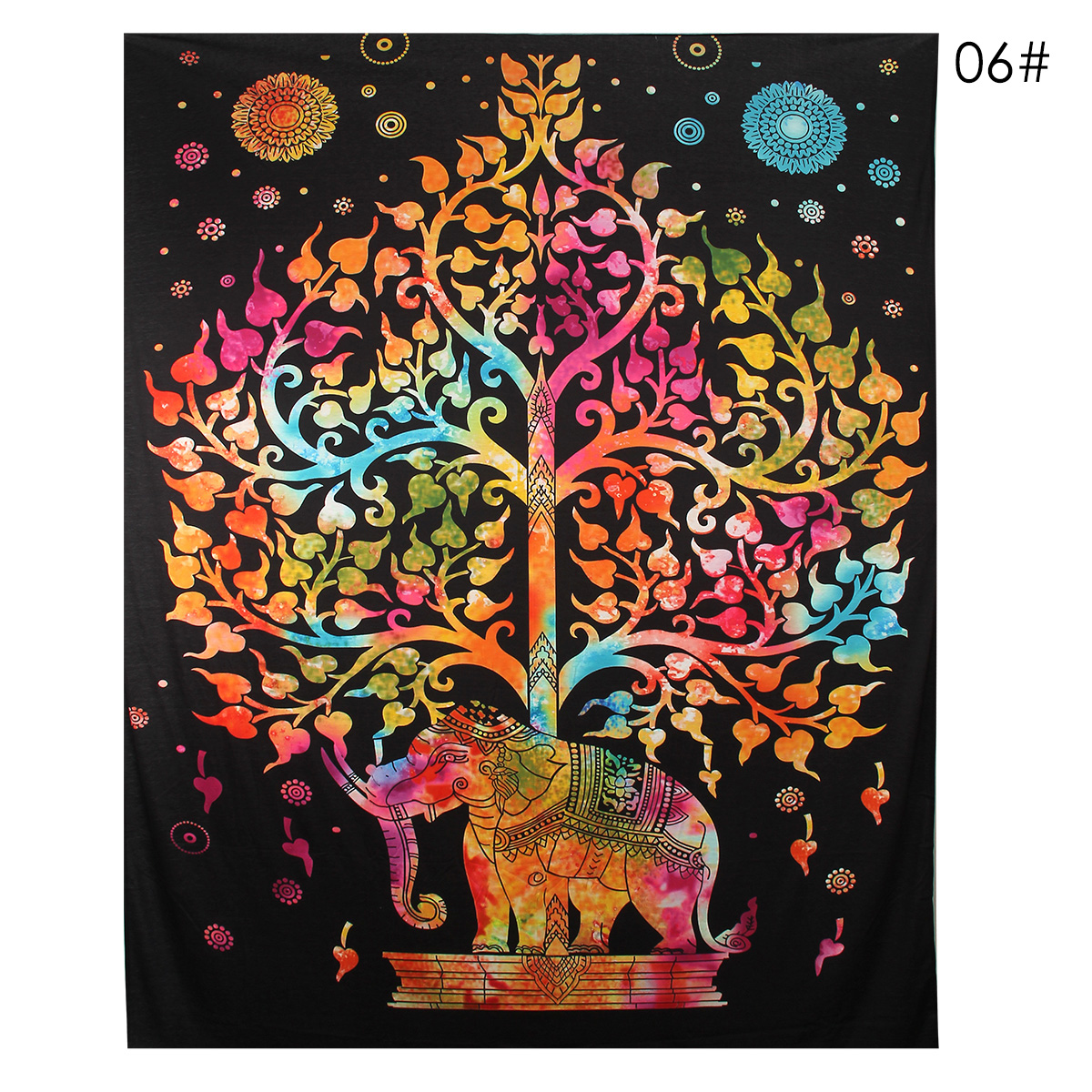 Elephant Mandala Tapestry Throw Towel Hippie Tapestry Floral Printed Home Decor Wall Tapestries Bedspread 210*150CM 25