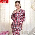 Любители пижамы 100% хлопок плед с длинным рукавом брюки свободного покроя гостиная комплект