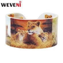 WEVENI Plastic Family Lionet Lioness Bangles Bracelets Wild Jungle Africa Animal Craft Jewelry For Women Girls Teens Accessories(China)