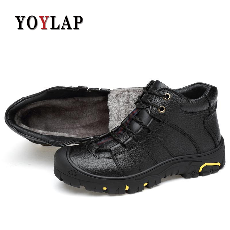2018 Genuine Leather Men Boots Winter Shoes Men Waterproofs Fur Ankle Plush Warm Snow Boots Men High Quality Mens Winter Shoes men boots 2015 men s winter warm snow boots genuine leather boots with plus velvet shoes high quality men outdoor work shoes