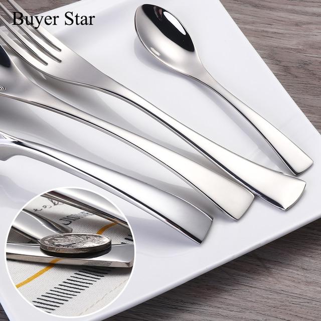 1624pcs/set Stainless Steel Tableware Cutlery Sets Mirror Polished Silver Plated Metal Tableware Western Dinner Fork Knife Scoop 3