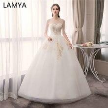 LAMYA Sweetheart With Pearl Beading Wedding Dresses Customized Tulle Sleeve Bridal Gown Vintage Floor Length vestido de noiva