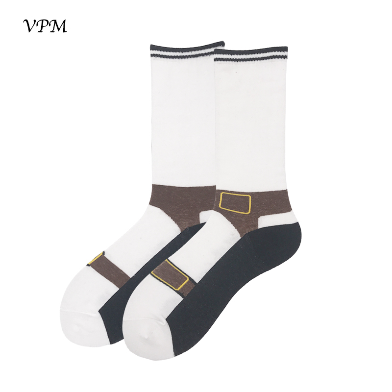 VPM Large Big Size 85% Cotton Men's Long Socks Funny Novelty Shoe White Hip Hop Sock For Male Happy Christmas Wedding Sock Gift