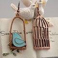 Bronze Retro Bonito do Projeto do Pássaro da Gaiola de Pássaro Paz Brincos Estilo Clássico Da Moda Jóias Mulheres Brincos