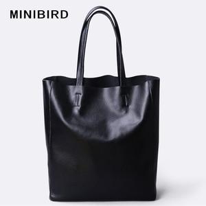Image 1 - Genuine Leather Bag Women Shoulder Bag Shopping Bag Lady High Capacity Waterproof Parent subsidiary Casual Totes Zipper Handbag