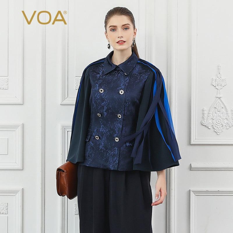 VOA Silk Jacquard Women Jacket Tassel Navy Blue Cool Double breasted Coat Flare Long Sleeve Veste Fall Ladies Kurtka Retro W322