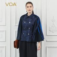 Voa шёлковый жаккардовые для женщин куртка кисточкой темно синие Прохладный двубортный пальто Flare с длинным рукавом Veste Осень Дамы Kurtka Ретро