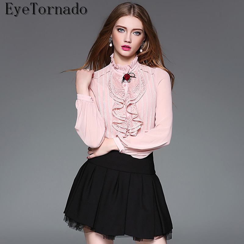 Women lantern sleeve lace blouse summer stand collar ruffled work office shirt spring summer solid color OL shirt tops pink jenni new pink solid ruffled chemise l $39 5 dbfl