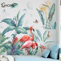 Свежие зеленые тропические растения цветы в скандинавском стиле съемные наклейки на стену наклейки для украшения дома для гостиной спальн...