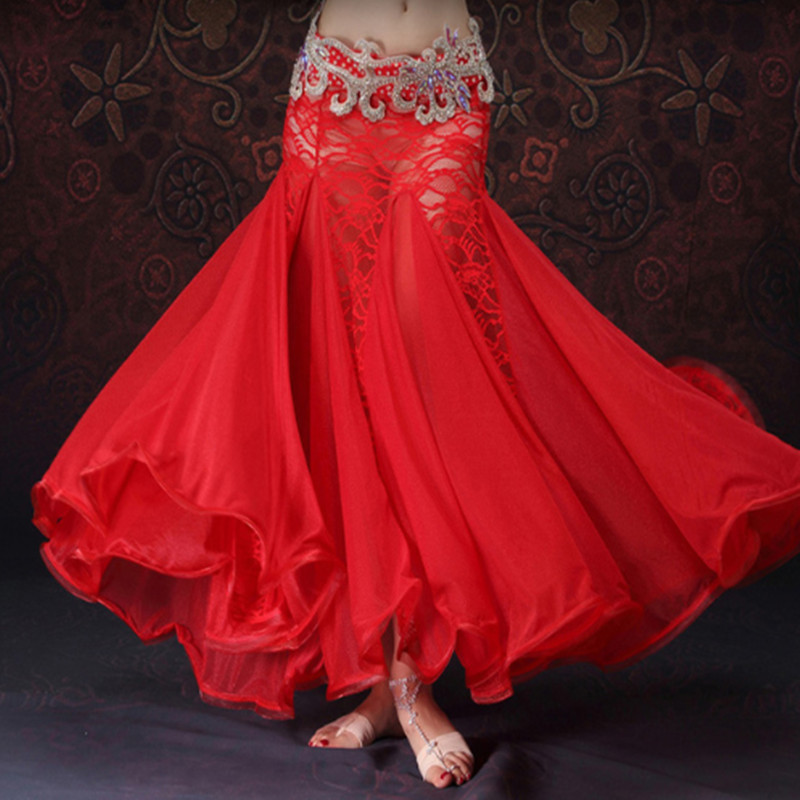 2018 New Belly Dancing Clothes Professional Long Fish Tail Skirts Wrapped Skirt Lace Women Belly Dance Skirts without belt