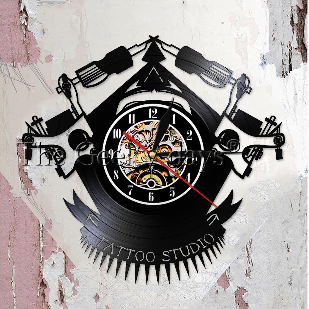 Vintage Custom Tattoo Vinyl Record Wall Clock Custom Order Your design Your  logo Your Image Personalized Tattoo Shop Vinyl Clock 720cee302c
