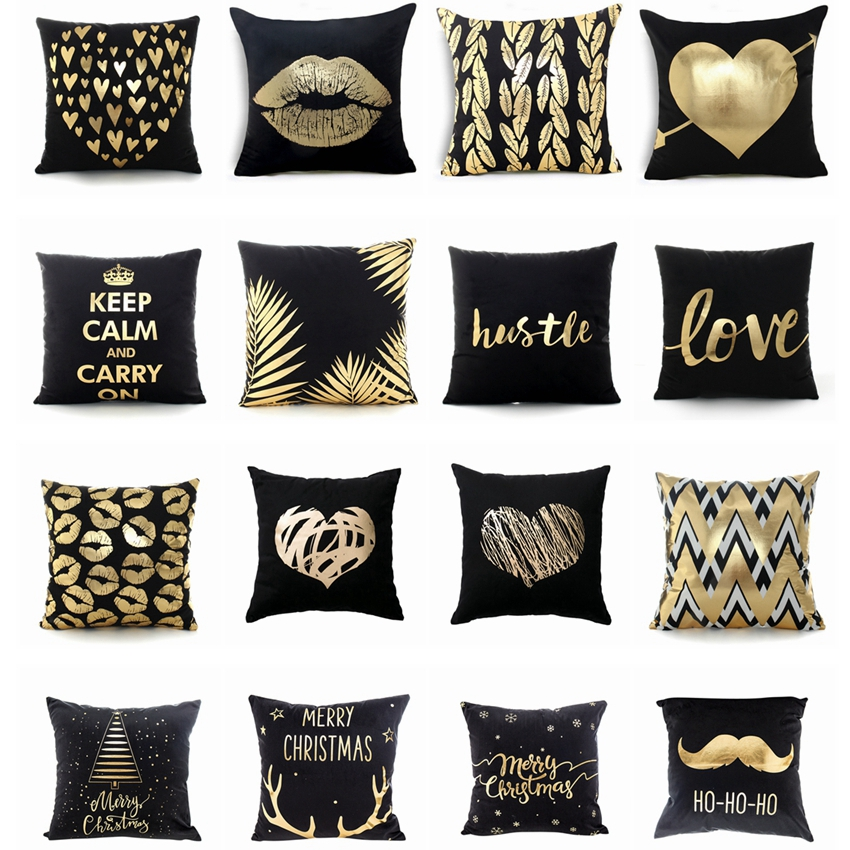 Black Bronzing Cushion Decorative Pillows Gold Foil Printed Pillowcase Home Decoration Sofa Throw Pillows 17*17inch Christmas