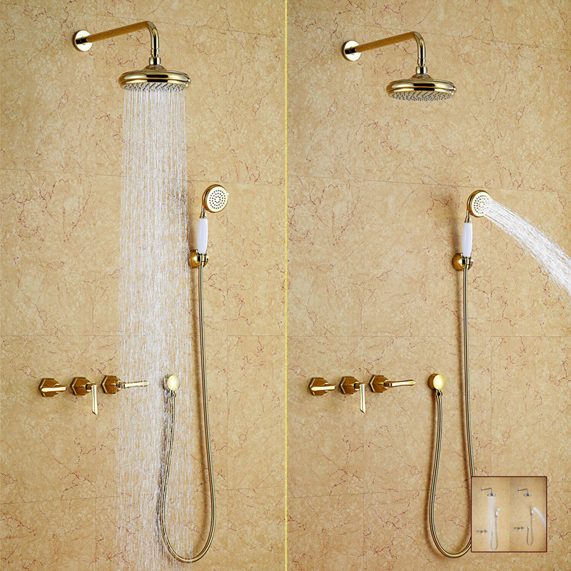Free ship wall mounted gold PVD finish waterfall rainfall shower and bath tub faucet mixer tap NEW
