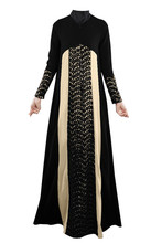 2018 Fashion Hollow Out islamic clothing hijab black abaya dress arab womens clothing malaysia dubai abaya dress B8020