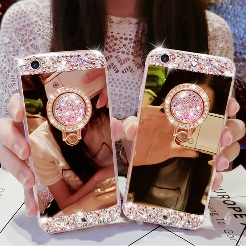 LANCASE For iPhone 6S Case Glitter 360 Diamond Ring Soft TPU Mirror Case For iPhone 6 6S Plus 7 8 8 Plus X Case Rhinestone Stand ...