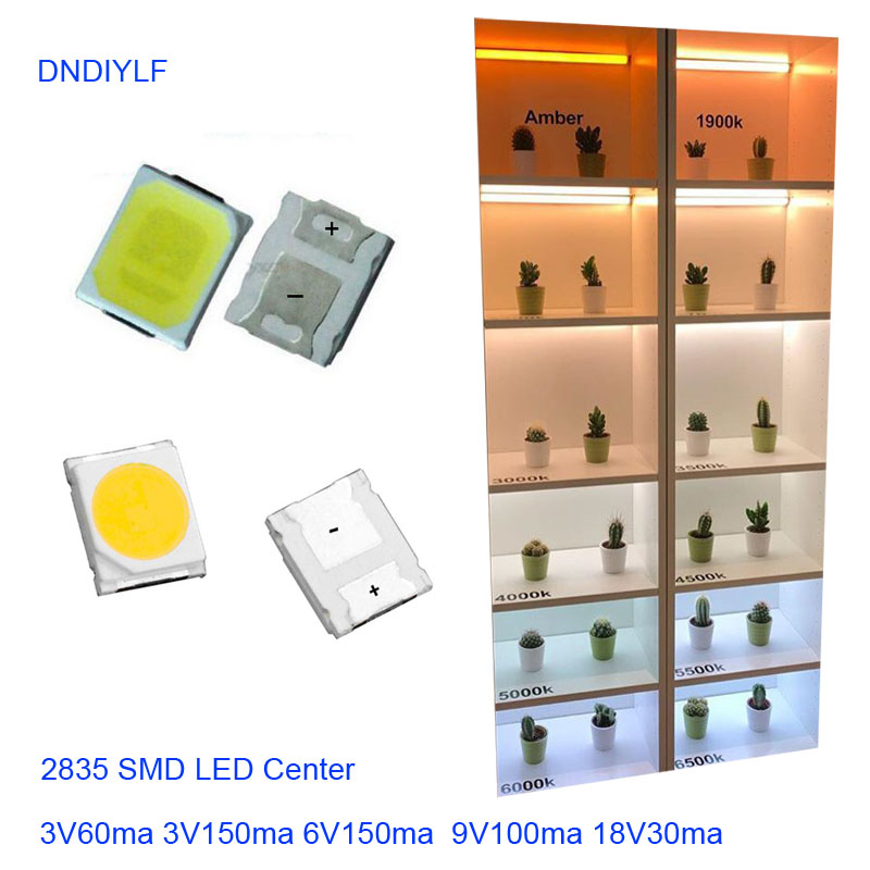 $0.99/100pcs SMD LED 2835 White Chip 0.5 W 3.0-3.6V 150mA 45-50LM Ultra Bright  Surface Mount  LED Light Emitting Diode Lamp