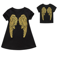 Family Look Summer Angel Wing Embroidery Pattern T Shirt Father Son Clothes Top Mother Daughter Dress