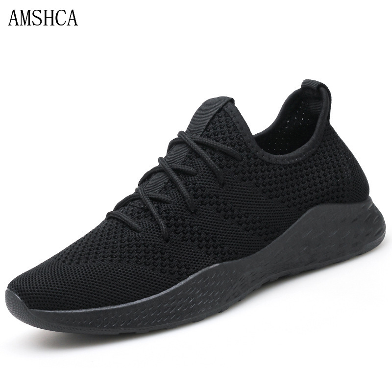 AMSHCA respirant hommes baskets hommes chaussures adulte confortable antidérapant doux maille hommes chaussures 2018 Sapato Masculino