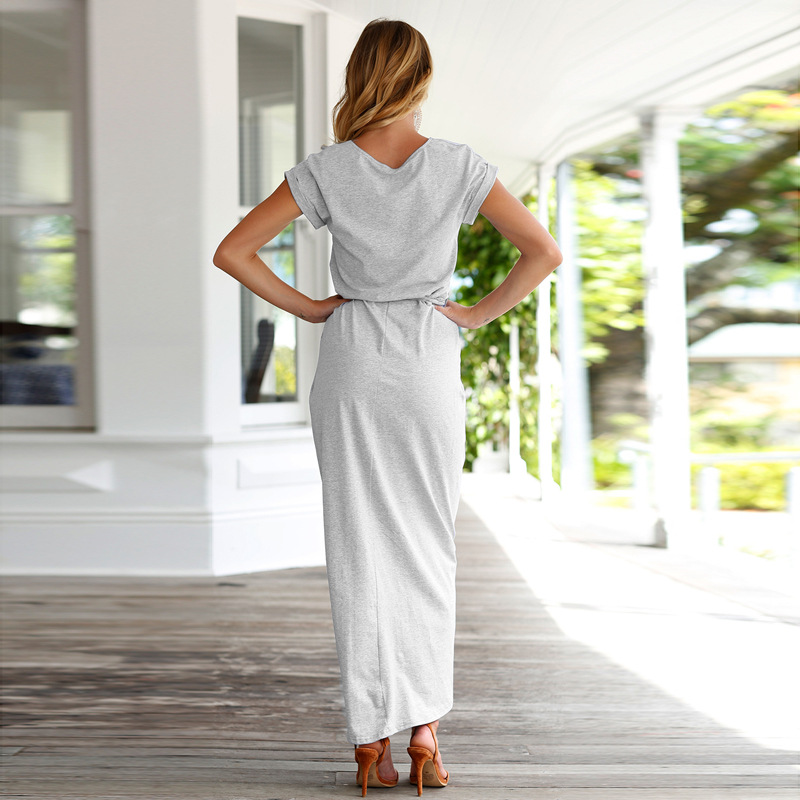 SHIBEVER Plus size Casual summer dress Short Sleeve Asymmetrical Long women  maxi dress fashion Ladies Clothing female NLD719-in Dresses from Women s ... 26d0a11817bf