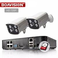 HD 4CH 1080P POE NVR Kit CCTV System 2Pcs 720P 1 0MP IP Camera IR Outdoor