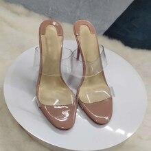 Size 34-45 Transparent PVC Width Strap Women Slippers Summer Beach Stilettos High Heels Sliders Shoes недорого