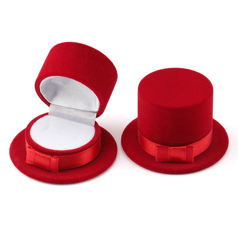 2 Pieces Lovely Velvet Gift Box Top Hat Jewelry Box Wedding Ring Box Necklace Ring Case Earrings Holder For Jewelry Display