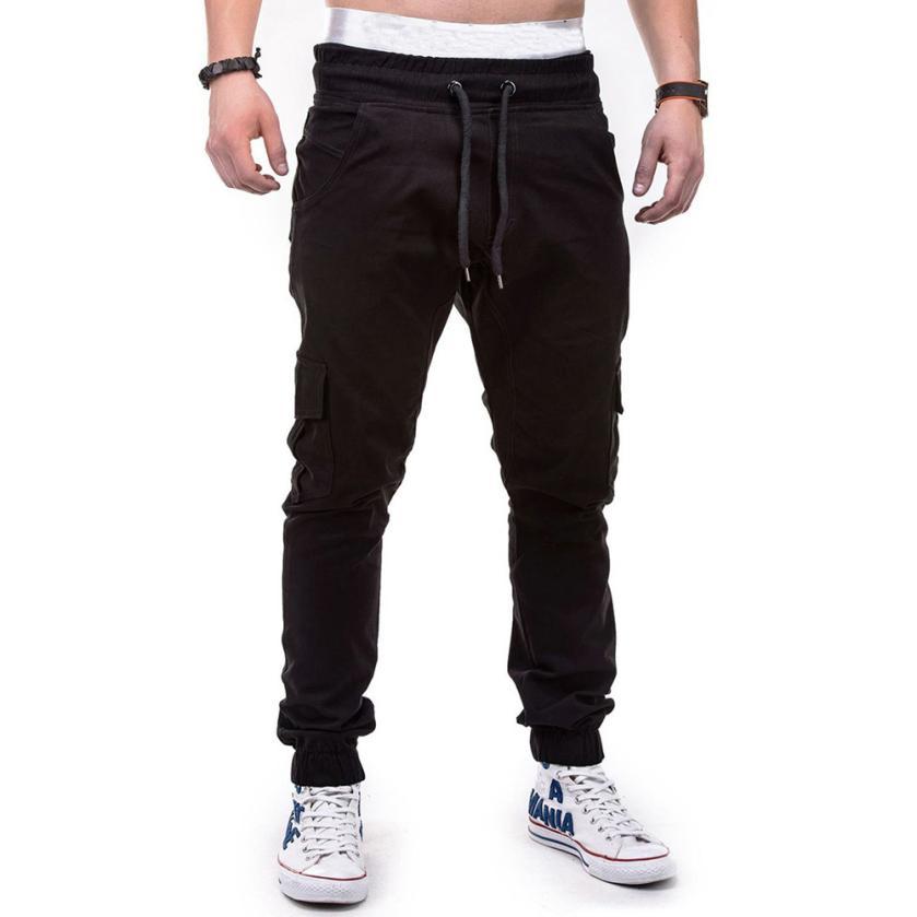 HTB1lXv4jWAoBKNjSZSyq6yHAVXas Men's Pants 2018 Fashion Men's Pure Color Bandage Casual Loose Sweatpants Drawstring Pant       july22