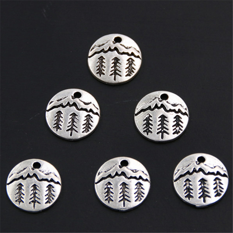 50pcs Pine Tree Charm Under The Mountain Charms Pendant Camping Jewelry Outdoor Gifts For Woman Man Unisex A309