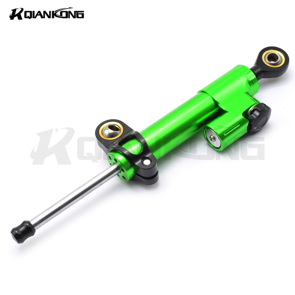 for CNC Damper Steering StabilizerLinear Reversed Safety Control Over For KAWASAKI Z750 Z750R  Z250 Z1000 NINJA 250/300 green