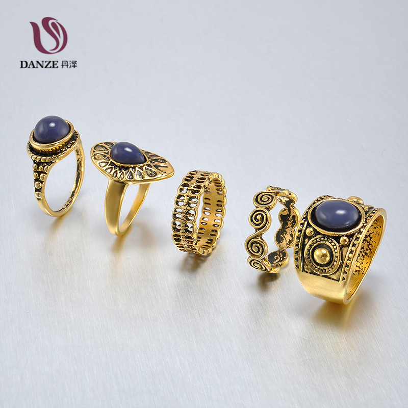 5 Pcs Vintage Knuckle Ring Sets for Women Antique Silver Gold Color Hollow Ring Ethnic Stone Joint Wholesale Party Gift Jewelry