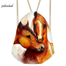 Jackherelook 3D Crazy Horse Pattern Men's Drawstring Backpack Small Casual Bags School Boys Sport Beach Shoulder Bags Softback