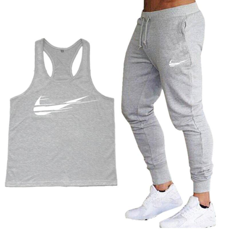 2019   Top   gyms Brand Men   Tank     Tops   + Trousers Two-Piece Suit Men Fitness Canotte Bodybuilding Stringer   Tank     Tops   Sleeveless Vest