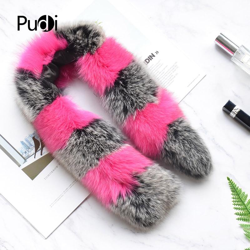 Pudi SF809 woman real fox fur   scarf   2018 new brand girl genuine fox fur   scarves     wrap   shawl patchwork silver fox pink color