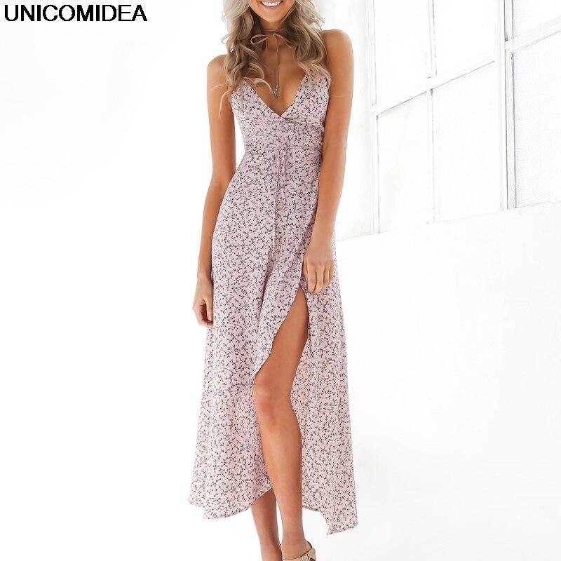 Floral Print Chiffon Long Dress 2017 Sexy V Neck Backless Boho Beach Dress Vestidos Women Split Summer Sundress Maxi Dress