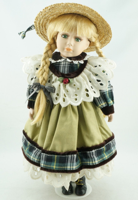 handmade 40 cm new collect pea green realistic doll braids porcelain
