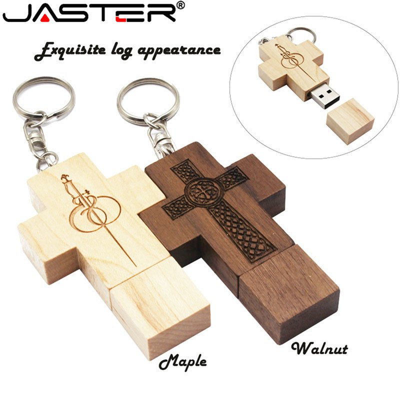 JASTER Customized Wooden  Cross Usb Flash Drive Pen Drive Memory Usb 2.0 4gb/8gb/16gb/32gb/64gb Fashion Gift 10 Pcs Free Logo