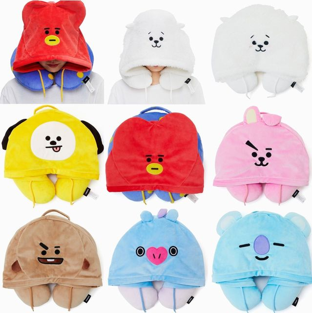 OHCOMICS Kpop BTS BT21 TATA CHIMMY COOKY MANG Cute Cartoon Hooded U-shaped  Plush Warm 17e62f8a691e