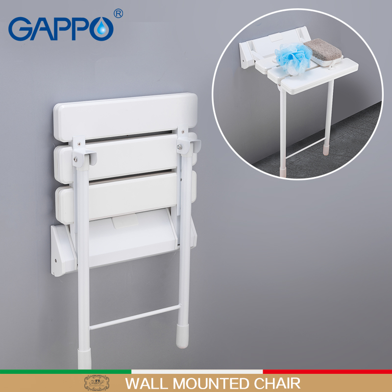 Bathroom Safety & Accessories Gappo Wall Mounted Shower Seats White Bathroom Folding Chairs Shower Bench Stool Toilet Wall Mounted Waiting Folding Seat Wall Mounted Shower Seats
