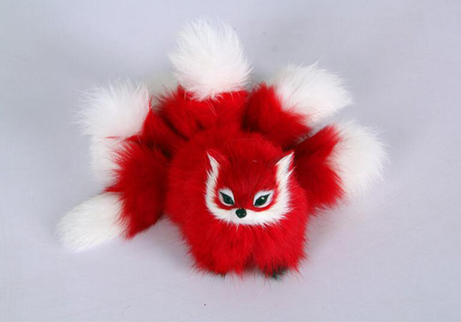 plastic&fur red fox with nine tails hard model about 18x10cm fox stage prop craft home decoration toy gift w0158 image