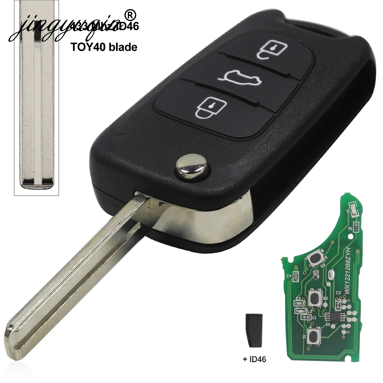 Image 2 - jingyuqin For Hyundai I20 I30 IX35 Avante 433Mhz ID46 Chip 3 Buttons Flip Folding Car Remote Key Fob-in Car Key from Automobiles & Motorcycles