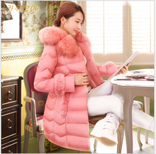 Latest Winter Fashion Women Cotton Coat Elegant Fur collar Hooded Slim Big yards Down jacket Thick Cotton Super Warm Coat G1977