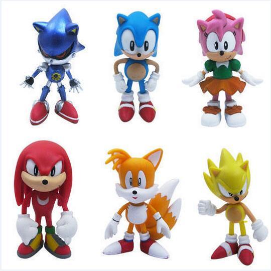"""6pcs <font><b>Set</b></font> <font><b>Sonic</b></font> <font><b>the</b></font> <font><b>Hedgehog</b></font> <font><b>Amy</b></font> <font><b>Tails</b></font> <font><b>Mephiles</b></font> Knuckles 6cm/2.4"""" PVC Figure"""