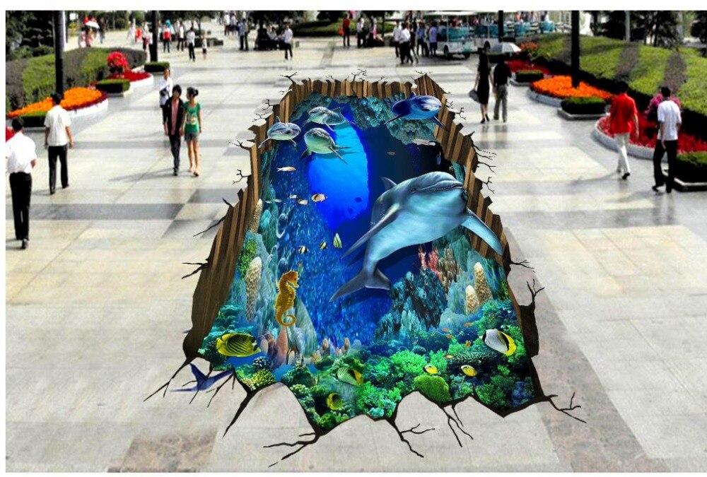 3D stereoscopic Sea World Dolphin floor self-adhesive 3D floor PVC waterproof floor Photo wallpaper mural floor