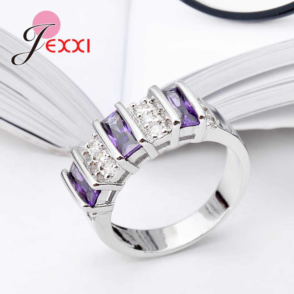 Top Quality New Arrival Special Three Purple Cubic Zirconia Generous Wedding 925 Sterling Silver Rings For Girls/Women