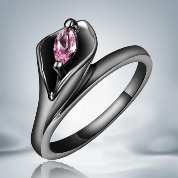 Gold Ring Crystal Snake Engagement Vintage Women for Black AR603 Filled CZ Top-Quality
