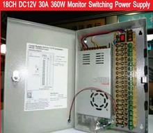 18CH DC12V 30A 360 Вт коммутации Питание коробка/монитор Питание AC 100-240 В для 18 Порты камер видеонаблюдения или светодио дный полосы света